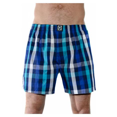 HORSEFEATHERS pánské modro-tyrkysové kostičkované trenýrky Sin Boxer Shorts