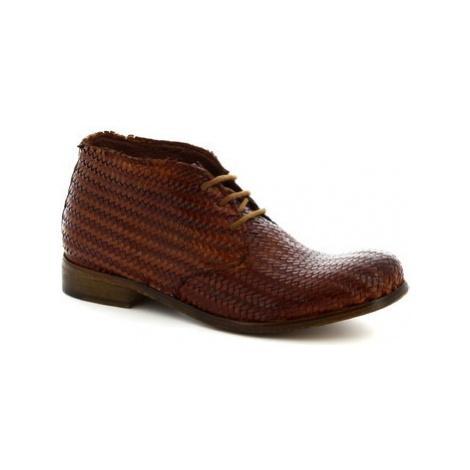 Leonardo Shoes 2580/4 PAPUA INTRECCIO CUOIO Hnědá