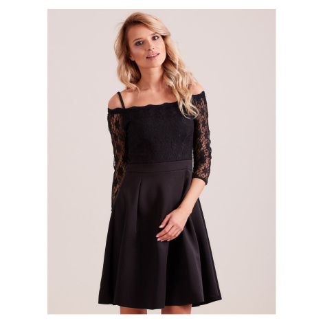 Black dress with a lace top Fashionhunters