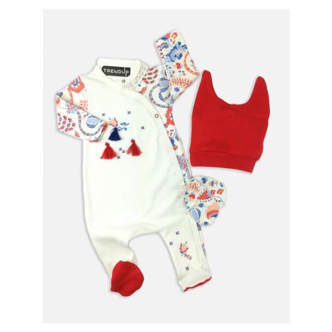 Overal kojenecký bavlněný s čepičkou TrendUpcz Folklórní styl červená