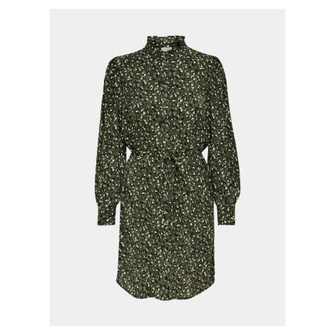 Jacqueline de Yong zelené vzorované košilové šaty Milo