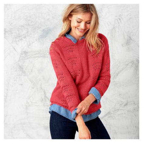 Ažurový pulovr s kulatým výstřihem červená