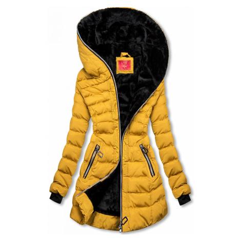 Zimní prošívaná bunda s kapucí žlutá Butikovo