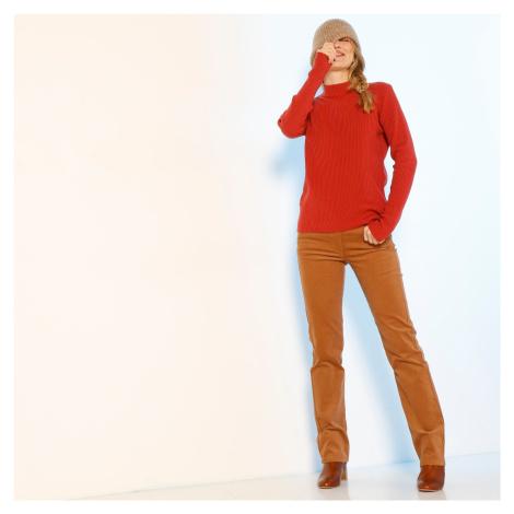 Manšestrové kalhoty s knoflíky moka