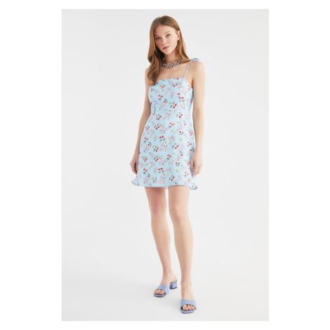 Trendyol Blue Strappy Flower Patterned Dress