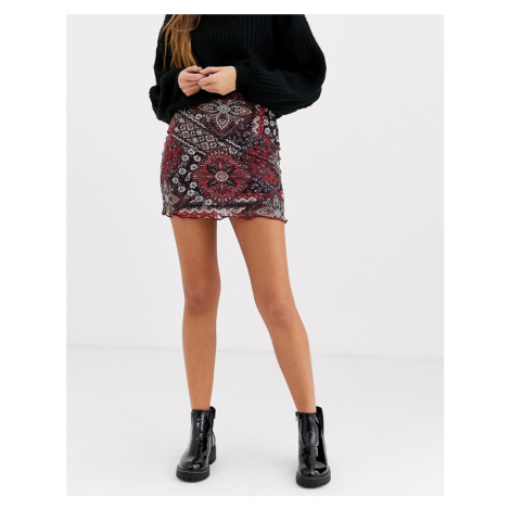 Daisy Street mini skirt in patchwork floral-Multi