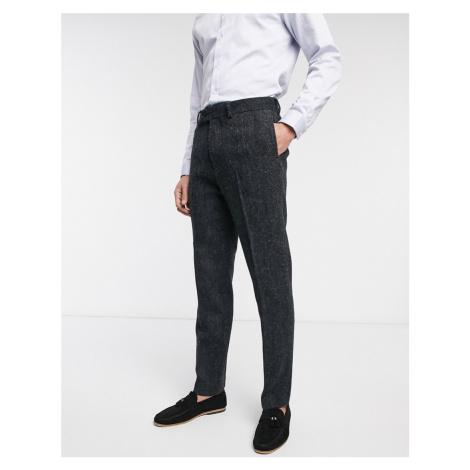 ASOS DESIGN slim suit trousers in 100% wool Harris Tweed in charcoal herringbone-Grey