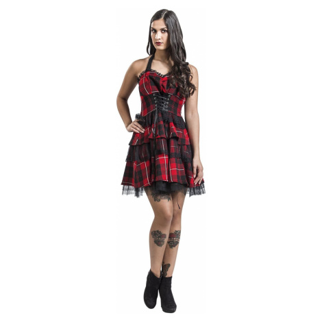 H&R London Gotické šaty Red Tartan šaty cerná/cervená