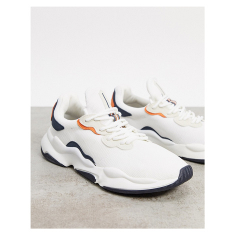 Bershka trainers in white with orange and navy detailing