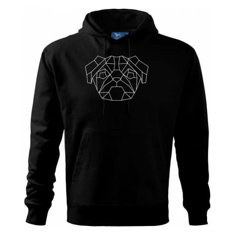 Mops - Geometrie - jednoduchý - Mikina s kapucí hooded sweater