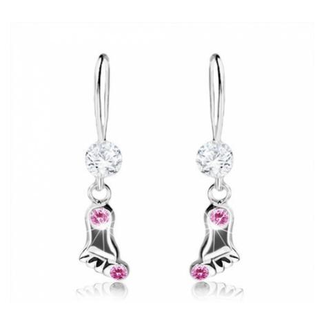 Visací náušnice, stříbro 925, lesklá nožka s růžovými krystalky Swarovski Šperky eshop