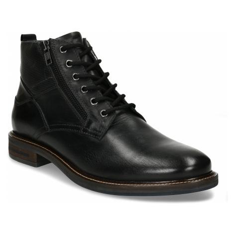 Pánská kotníková obuv v černé kůži a zipy na stranách Baťa