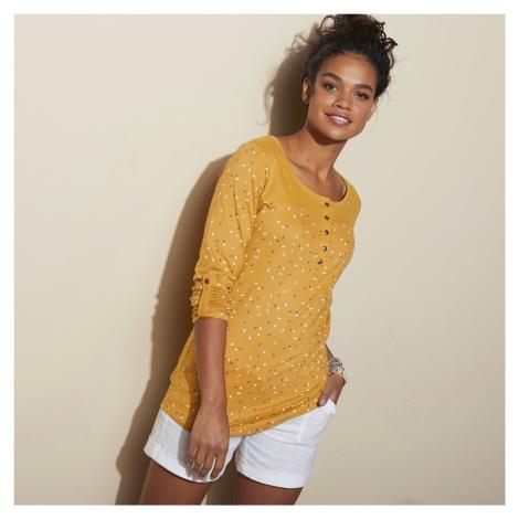 Blancheporte Tuniské tričko s potiskem a dlouhými rukávy medová