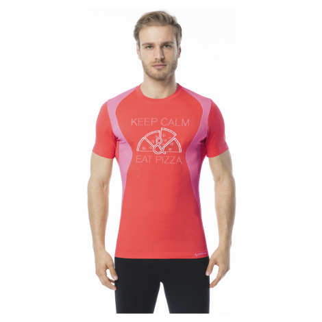 Pánské funkční tričko s krátkým rukávem IRON-IC - Keep Calm & Eat Pizza - červená Intimidea