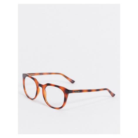 Quay Australia Scrollin round blue light glasses in brown tort