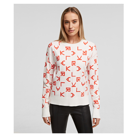 Svetr Karl Lagerfeld Reversible Karl Logo Sweater - Bílá