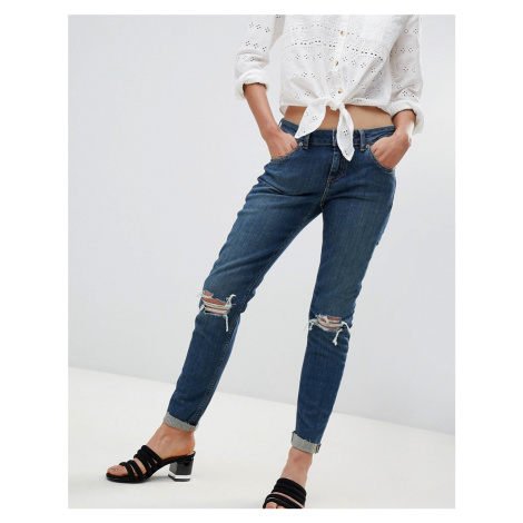 ASOS KIMMI Shrunken Boyfriend Jeans in Misty Aged Vintage Wash with Busts and Rips-Blue