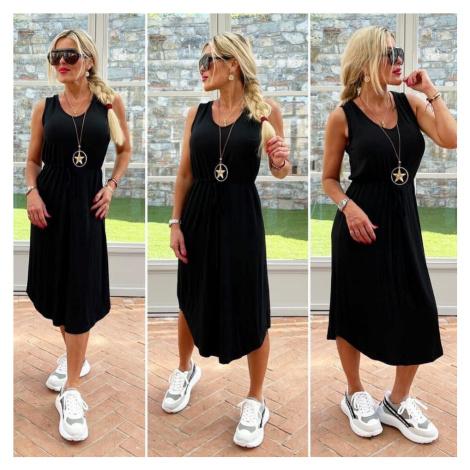 Černé big lněné šaty s krajkou