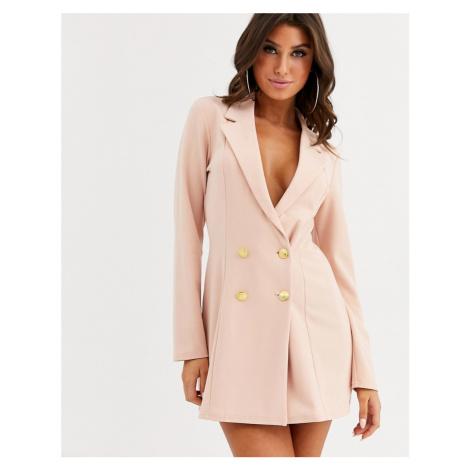 ASOS DESIGN glam double breasted jersey blazer-Pink
