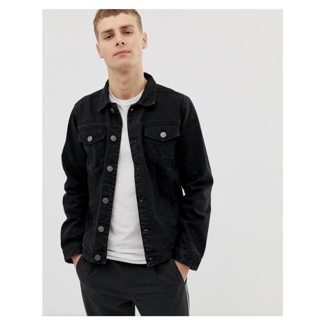 Brave Soul slim fit denim jacket in black wash