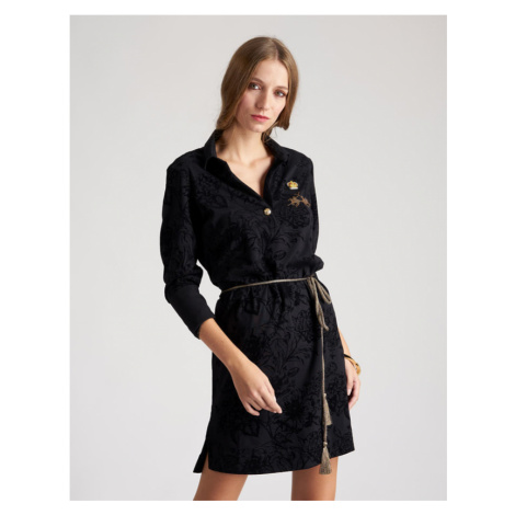 Šaty La Martina Woman Dress Long Sleeves Pique - Černá