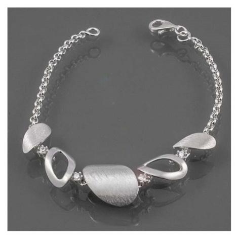 Dámský stříbrný náramek s bílými zirkony AUS10222