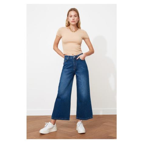 Trendyol Navy Blue High Waist Culotte Jeans
