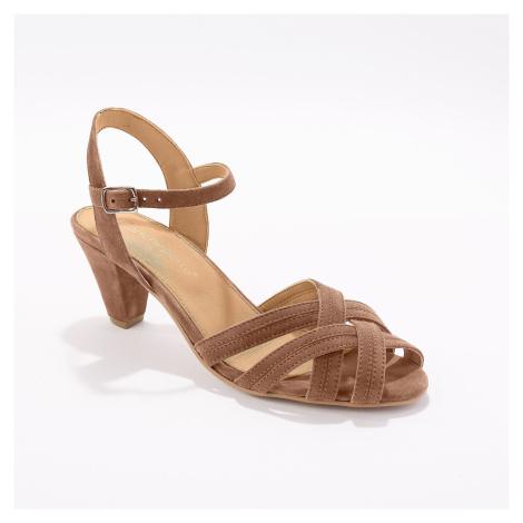 Blancheporte Kožené páskové sandály karamelová