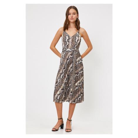 Koton Women Brown Strappy V Neck Tie Waist Midi Dress