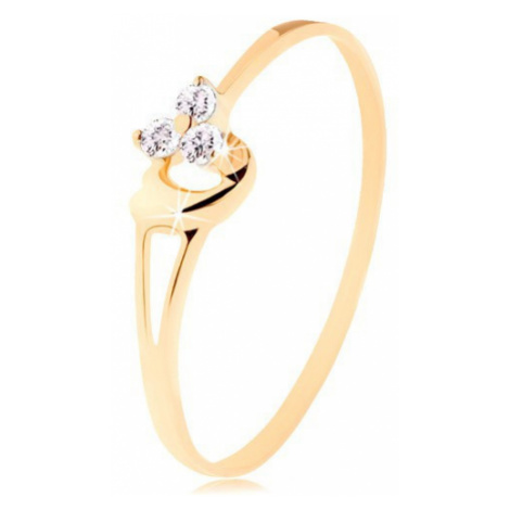 Prsten ze žlutého 14K zlata - tři diamanty v jemném růžovém odstínu, srdíčko Šperky eshop