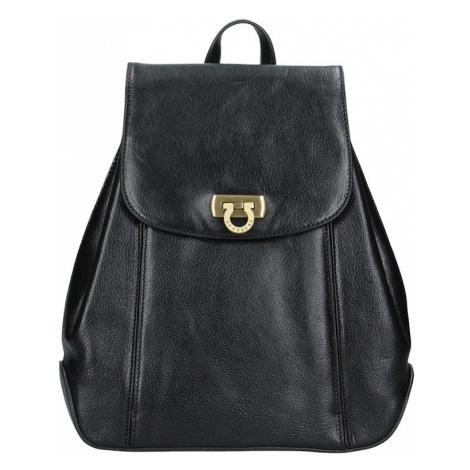 Kožený dámský batoh Hexagona 111429 - černá