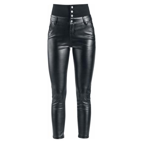 Forplay Koženkové kalhoty s vysokým pásem Dámské džíny černá