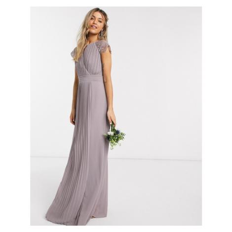 TFNC bridesmaid lace sleeve maxi dress in grey