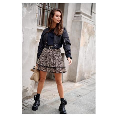 Rozšířená mini sukně s módním vzorem Roco Fashion