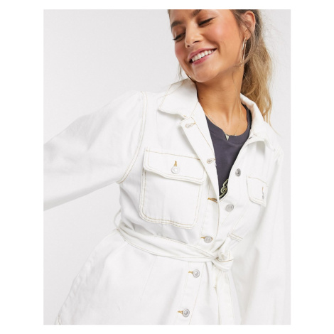 New Look puff sleeve jacket in off white