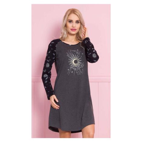 Dámská noční košile s dlouhým rukávem Moon, XXL, tmavě šedá Vienetta Secret