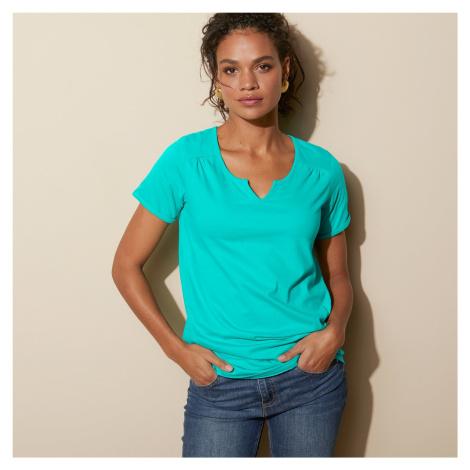 Blancheporte Jednobarevné tričko s tuniským výstřihem mátová