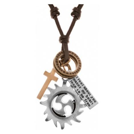 Nastavitelný kožený náhrdelník, přívěsky - kruh tribal, kruhy, kříž a známka Šperky eshop
