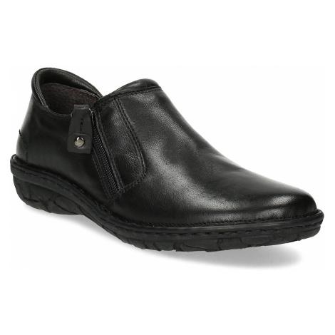 Dámská černá kožená Slip-on obuv Baťa