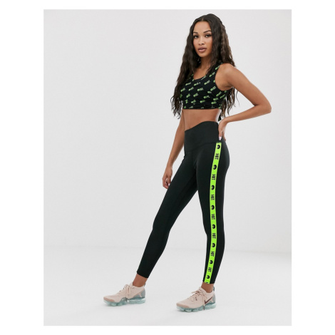 HIIT leggings with neon taping in black