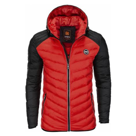 Pánská prošívaná zimní bunda Freud červená Ombre Clothing