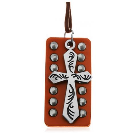 Kožený náhrdelník - ocelový kříž s černými zářezy, okovaný pás kůže Šperky eshop