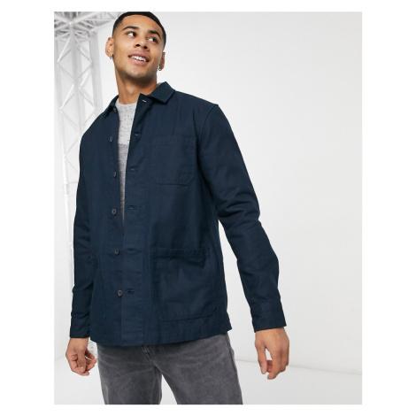 Burton Menswear 3 pocket overshirt in navy
