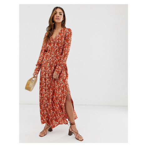 Y.A.S ditsy floral midi dress with covered belt detail