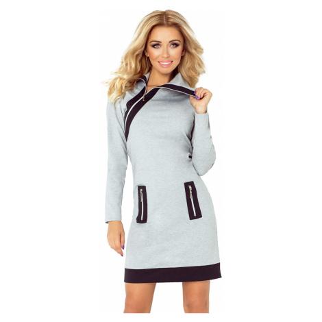 Šedé šaty se třemi zipy model 4976768