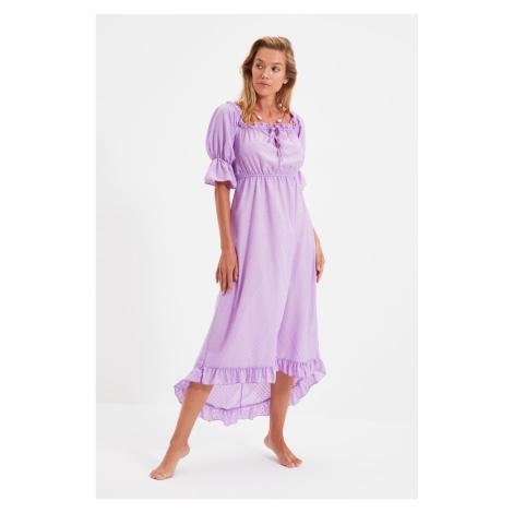 Trendyol Lilac Textured Carmen Collar Beach Dress