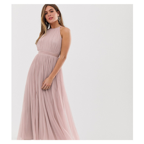 Anaya With Love tulle halterneck midaxi dress with satin trim in soft pink