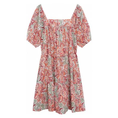 MANGO Šaty 'ALMOND' korálová / bílá / tmavě červená / mátová