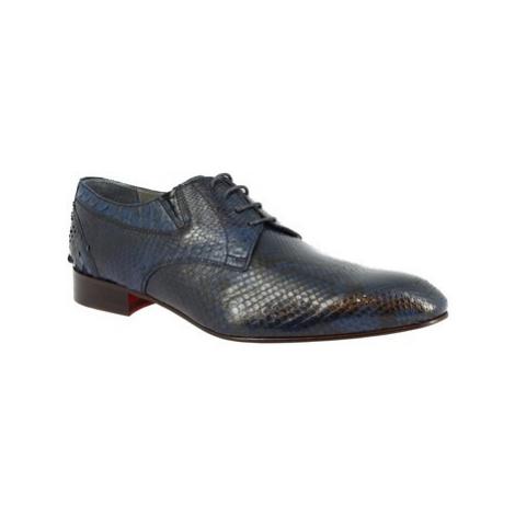 Leonardo Shoes 020 RETTILE BLUE Modrá