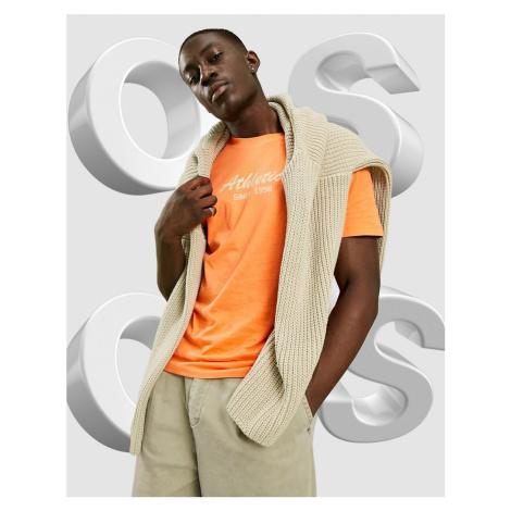 ASOS DESIGN t-shirt in orange with collegiate text print